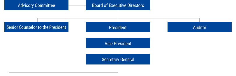 Advisory Committee, Board of Executive Directors, President, Vice President, Secretary General, Auditor